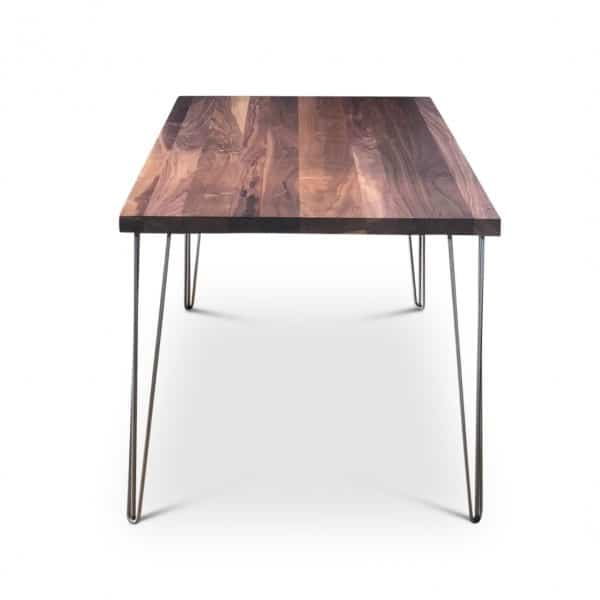 Clear Grey Walnut Solid Hairpin Dining Table