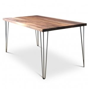 Clear Grey White Walnut Hairpin Dining Table