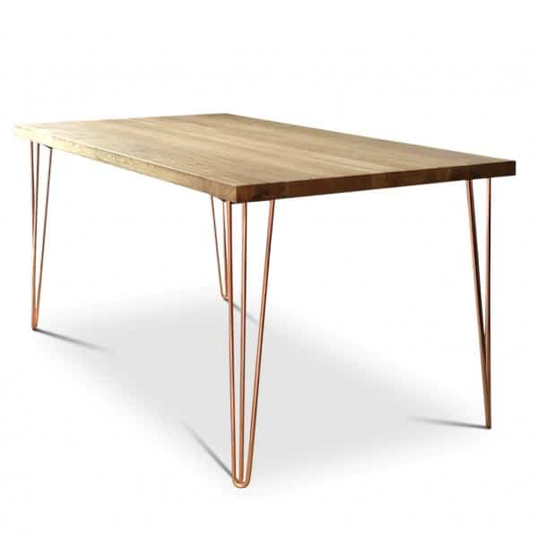 Copper Oak Hairpin Dining Table angle