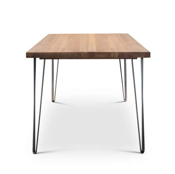Grey Oak Hairpin Dining Table Front