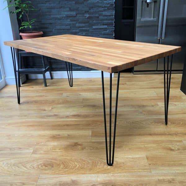 Jigsaw Solid Oak Black Hairpin Dining Table