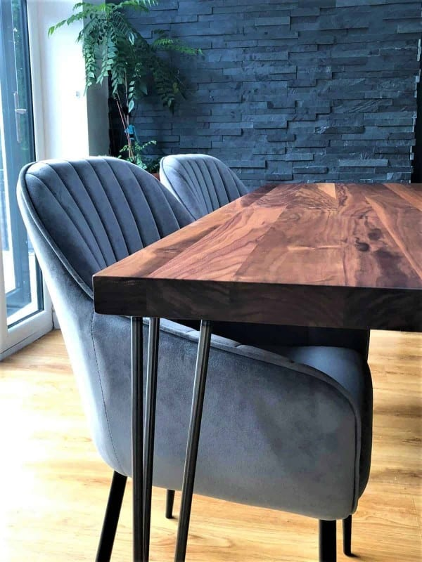 Solid Walnut Hairpin Collection Light grey Velvet Chair