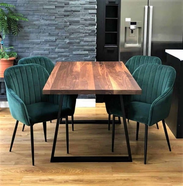 Solid Walnut Wood Cairo Trapezium Shaped Legs Front View Dining Table w chairs