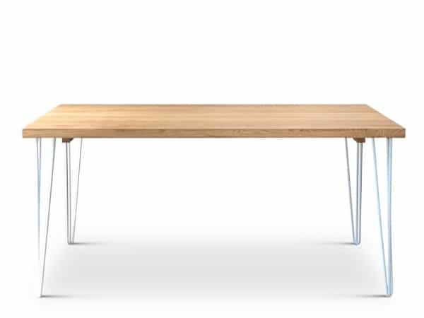 White Oak Hairpin Dining Table side