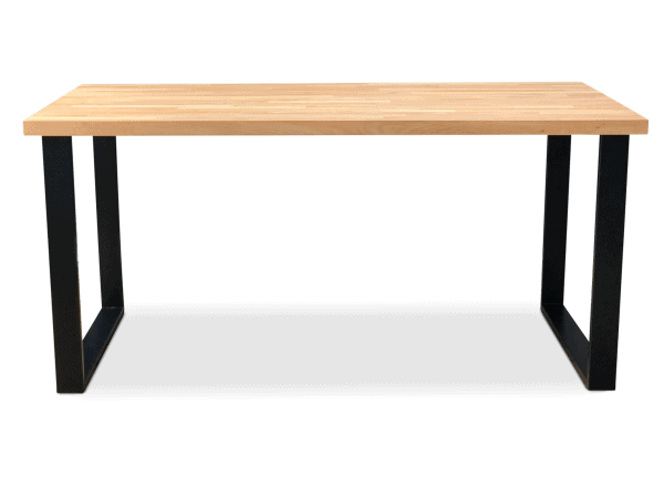 BOX Solid Beech Wood Industrial Dining Table - Black