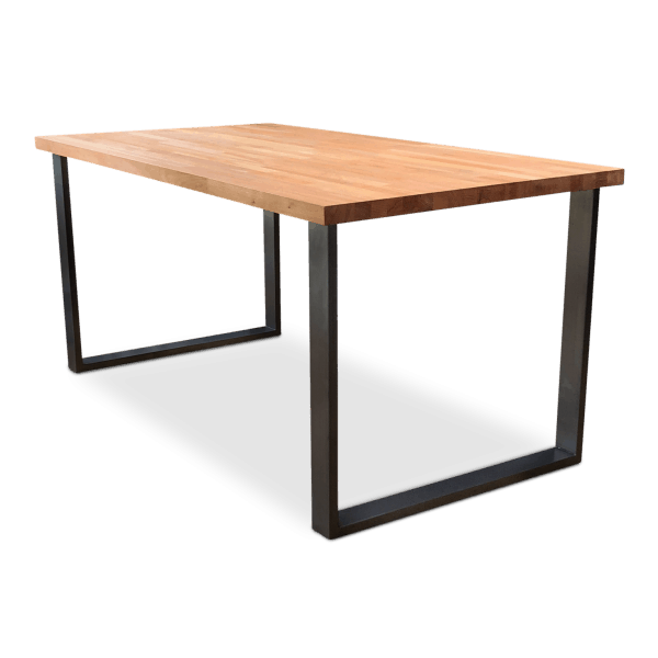 BOX Solid Beech Wood Industrial Dining Table - Clear