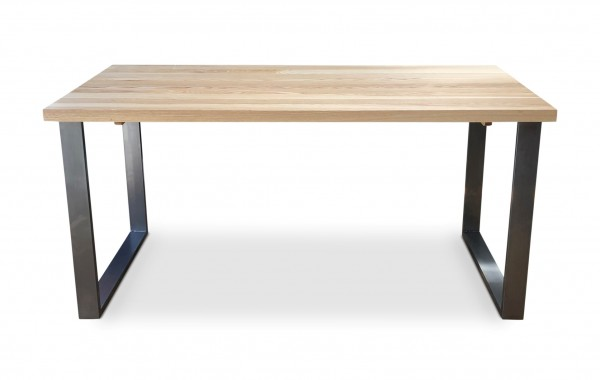 BOX clear Solid Ash Industrial Dining Table Front side