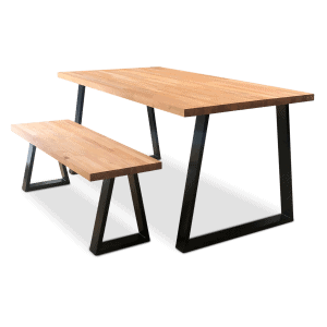 Cairo Solid Beech Wood Industrial Dining Table & Bench Black