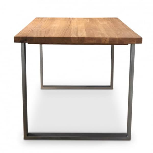 Clear BOX Metal Oak Industrial Dining Table