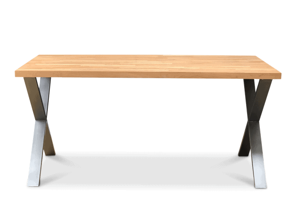 Cross Solid Beech Wood Industrial Dining Table Clear