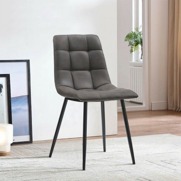 Manhattan Faux Leather Grey Dining Chair v3