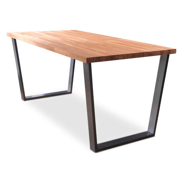 Gothenburg Solid Beech Wood Industrial Dining Table - Clear