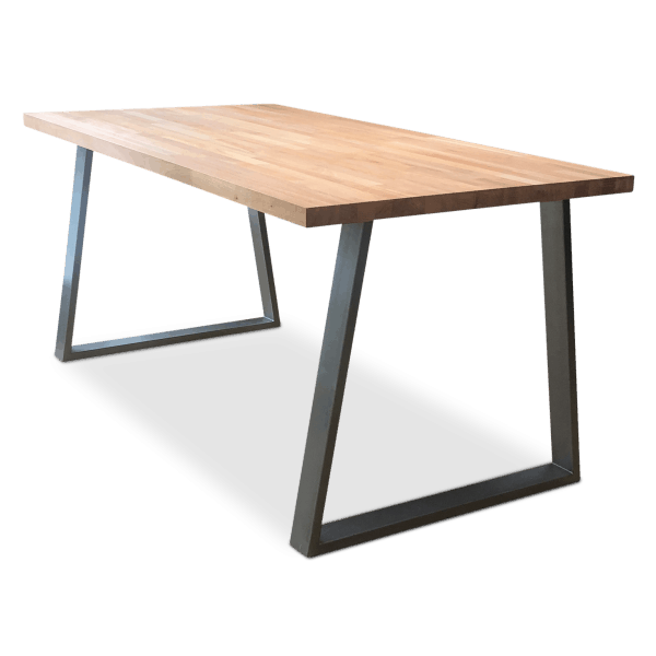 Cairo Solid Beech Wood Industrial Dining Table Clear