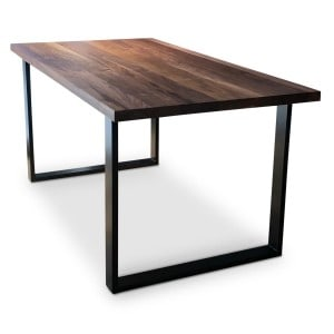 black BOX Industrial Solid Walnut Dining Table angle