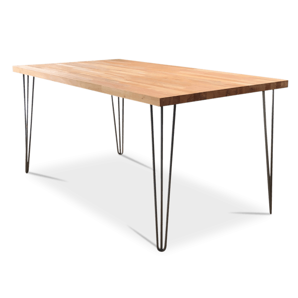 Beech Black Hairpin Dining Table w Bench