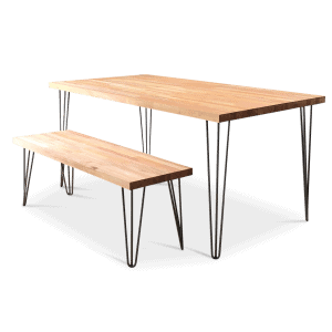 Beech Black Hairpin Dining Table