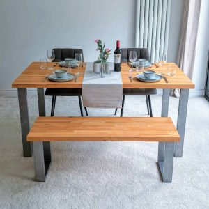 Solid Beech Dining Table Set with Bench and Chairs