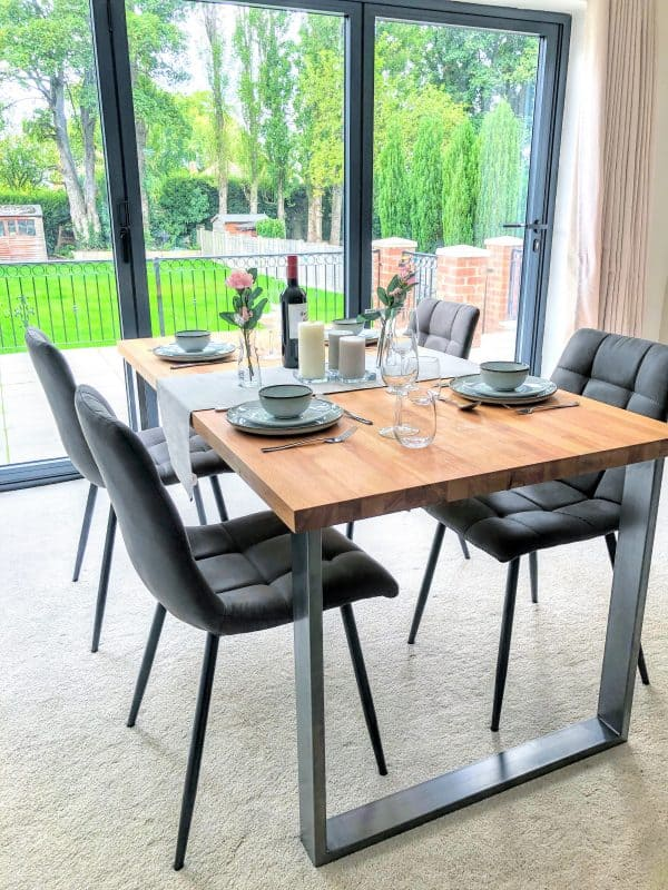 Solid Beech Dining Table Set with Chairs