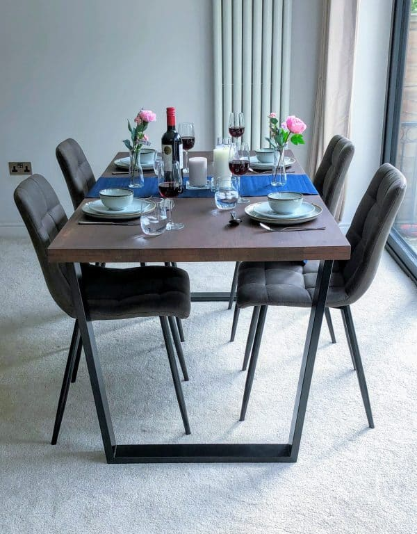 Solid Coffee Oak Dining Set with Chairs