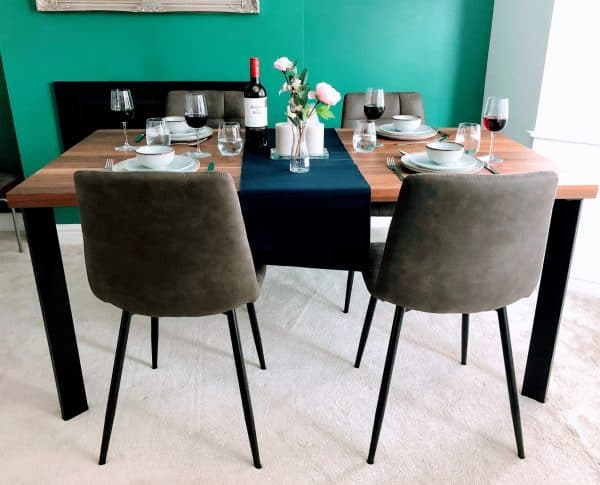 Solid Walnut Dining Table Set with Chairs