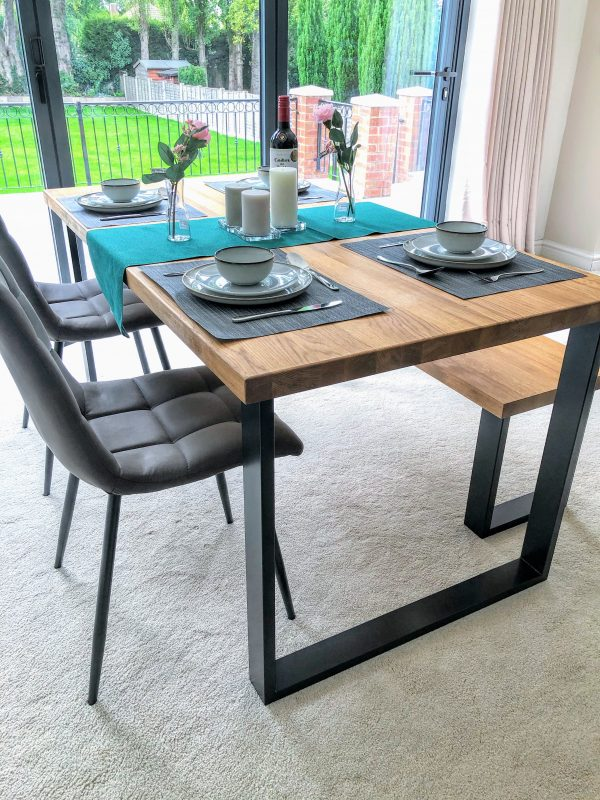 Solid Natural Oak Dining Set with Bench & Chairs