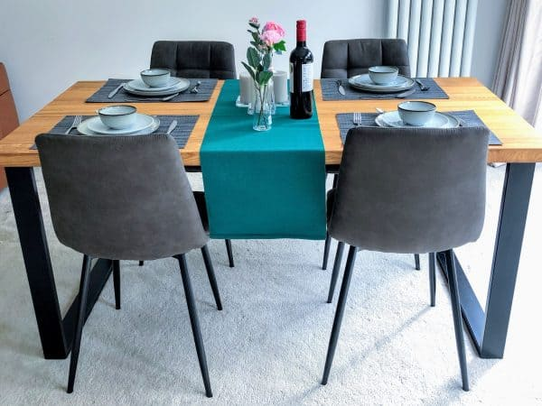 Solid Natural Oak Dining Set with Chairs