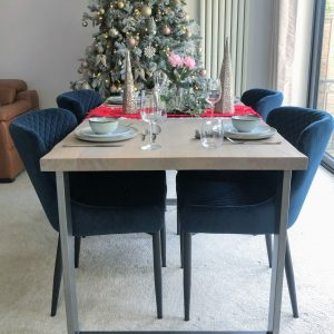 Chalk Grey Live Edge Solid Oak Dining Table