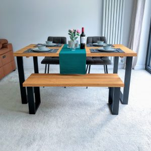 Natural Real Solid Oak Industrial Dining Table