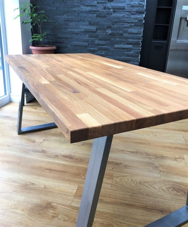 Cairo Jigsaw Solid Oak Industrial Dining Table 2