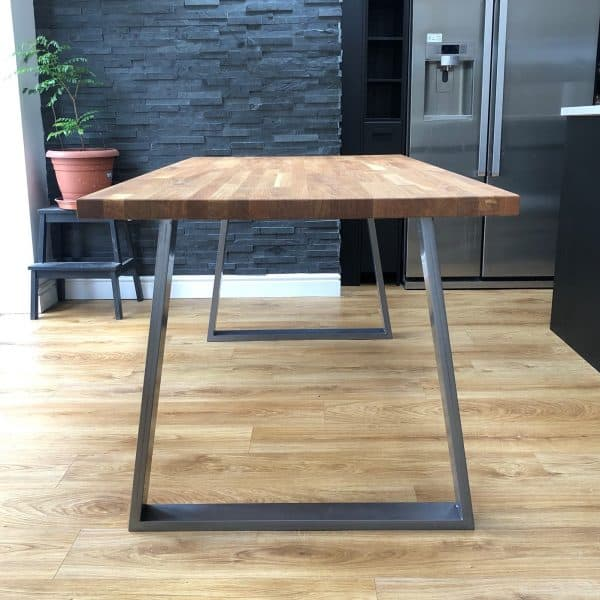 Cairo Jigsaw Solid Oak Industrial Dining Table